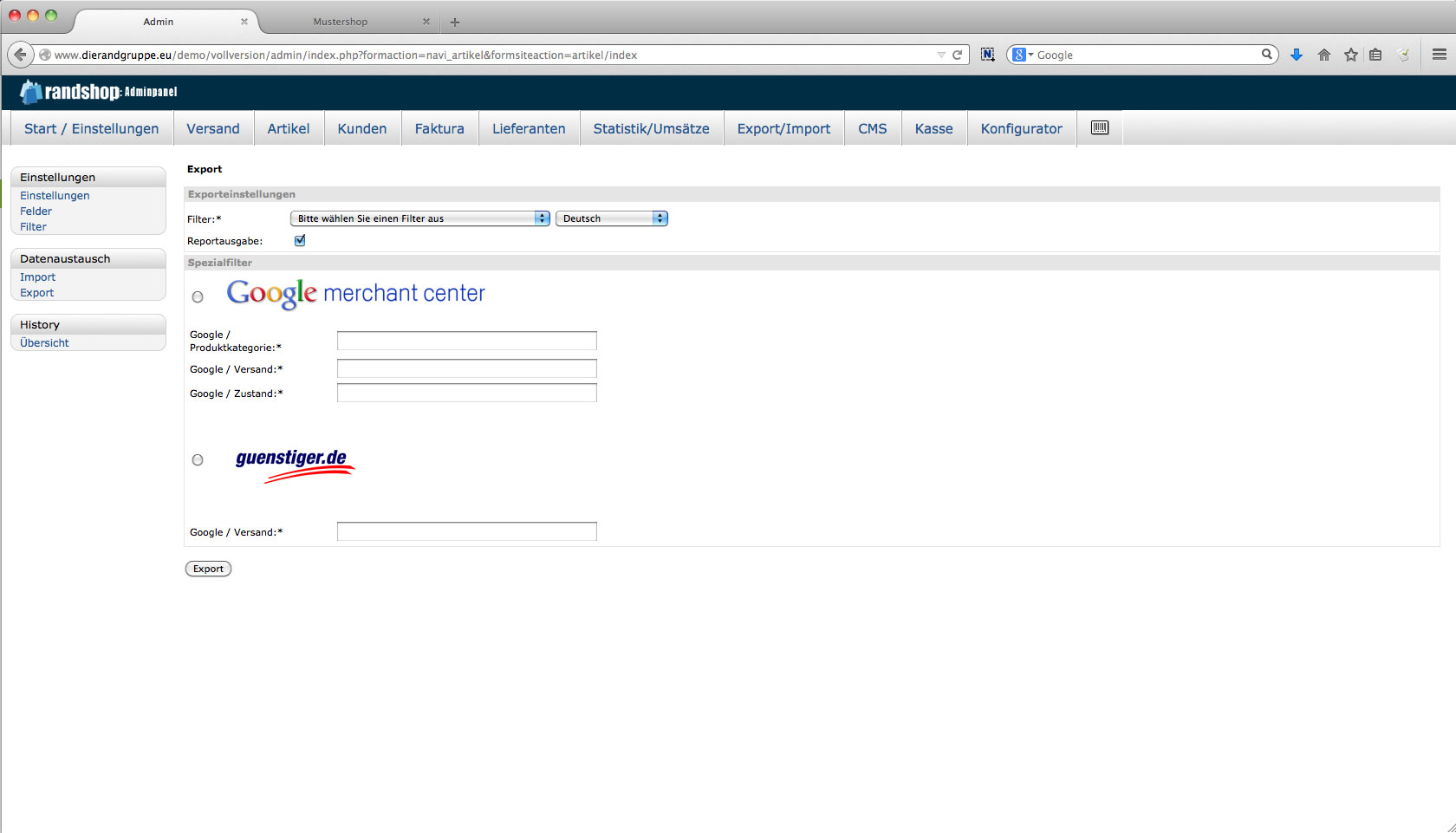 Im- Export - Übersicht der Exportseite inkl. Standardfilter