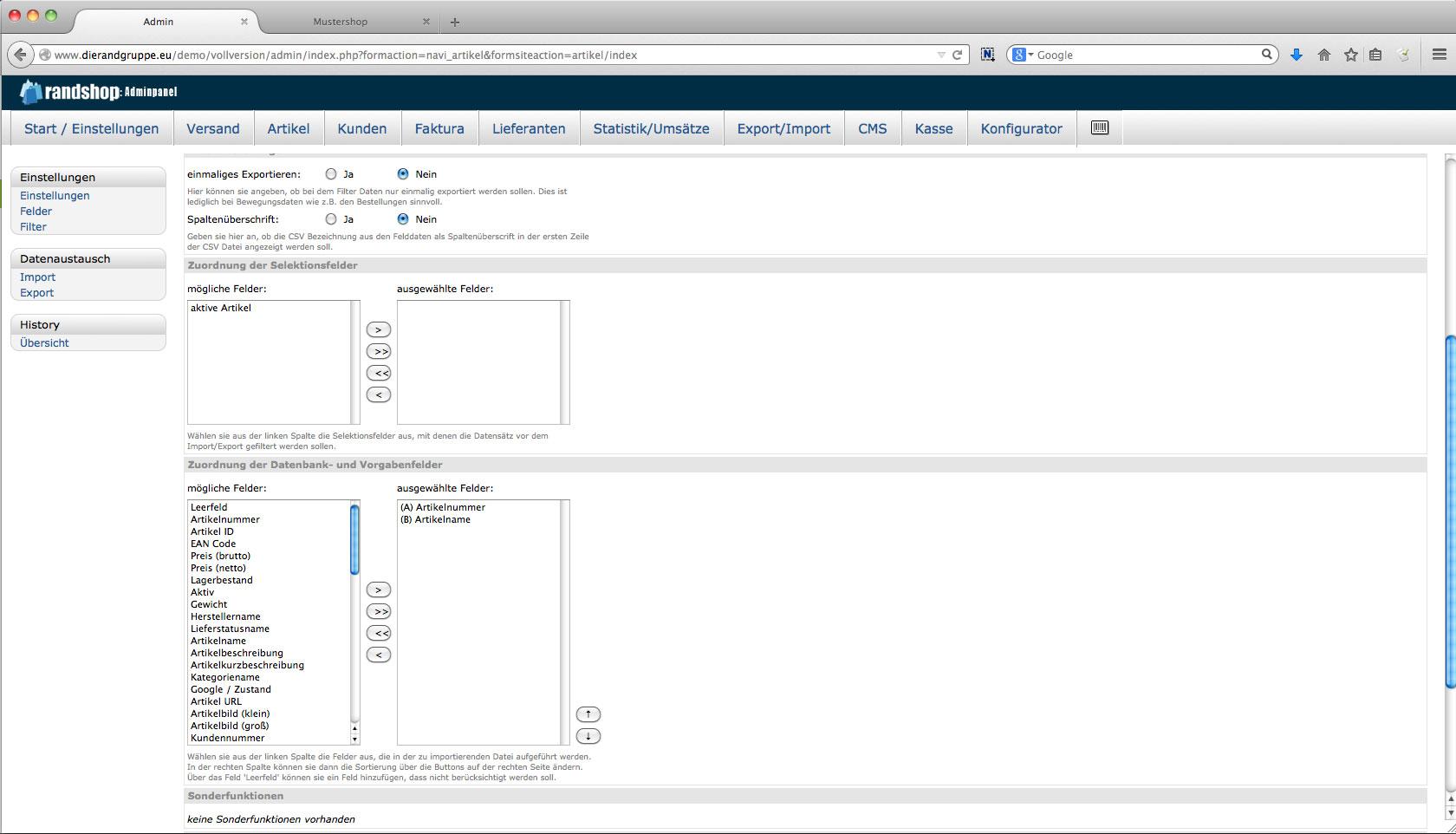 Im- Export - Erstellung eigener Filter aus eingerichteten Datenbankfeldern