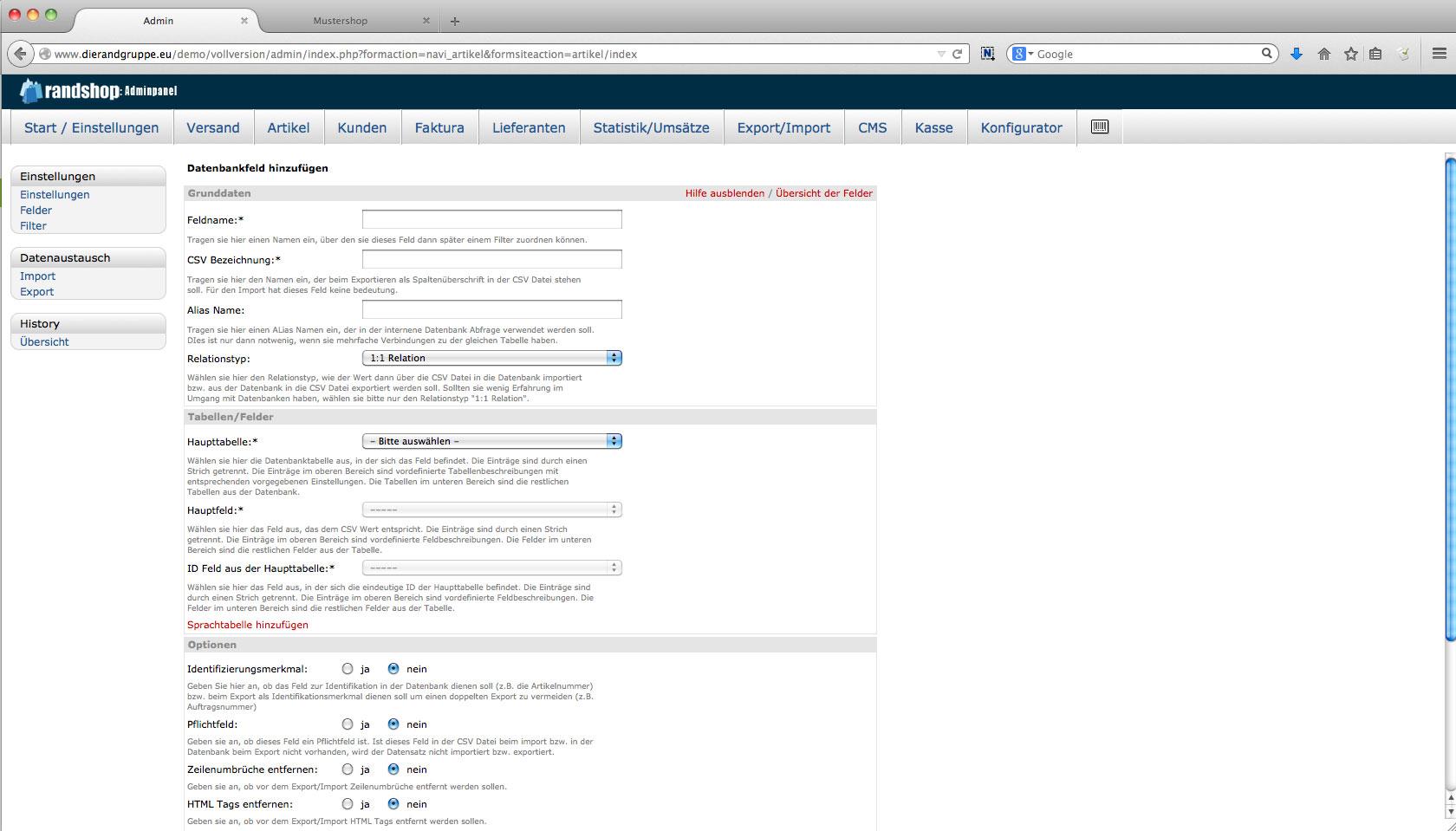 Im- Export - Anlegen eines eigenen Datenbankfeldes