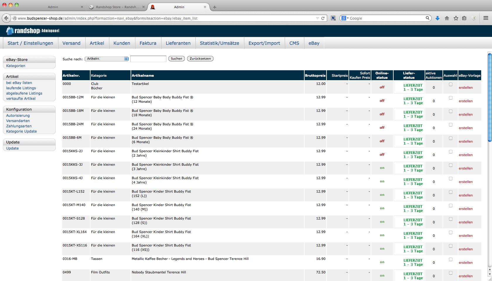 Ebay - Übersicht der Artikel zur Templatevorbereitung oder zum einstellen