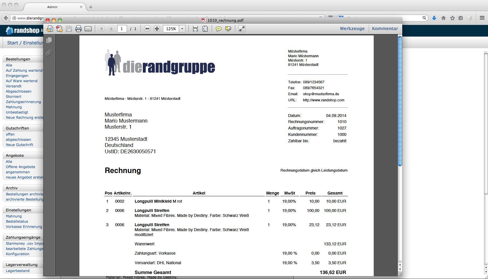 Faktura - PDF Rechnung