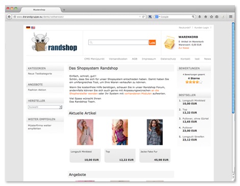 Shopsystem Randshop - Demo Shop 1 Testen