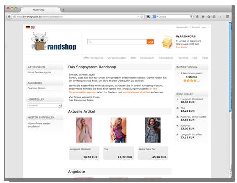 Shopsystem Randshop - Demo Shop 1 Testen